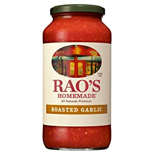 Rao's Homemade Tomato Sauce, Roasted Garlic, 24 oz, Versatile Pasta Sauce, Carb Conscious, Keto Friendly, All Natural, Premium Quality, Made with Sweet Italian Tomatoes and Caramelized Garlic