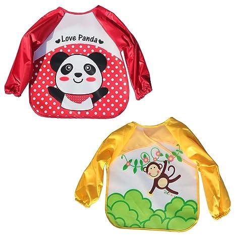 Happy Cherry - Pack de 2 Baberos Delantales Ropa Impermeables Infantil de pintura con mangas largas para Bebés niños niñas para pintar