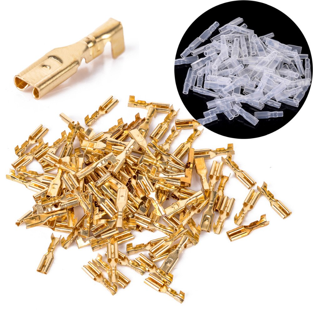 WILLAI 100pcs 2.8mm Female Spade Connectors Mayitr Brass Crimp Terminals with Insulating Sleeve 22-16AWG