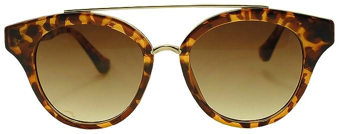 e6bcb670f Sunglass Stop - Women's Round Retro Double Bar Flat Top Horned Sunglasses ( Tortoise | Gold