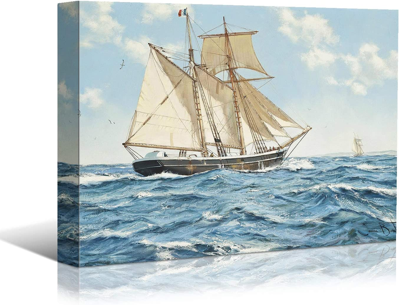 Looife Ocean Theme Canvas Wall Art, 36x24 Inch Sailboats on Stormy Sea Picture Prints Wall Decor, Sailing Ship Painting Deco for Living Room, Bedroom, Bathroom and Hotel, Ready to Hang