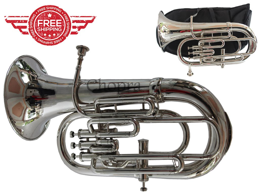 Euphonium Bb Flat 4 Valve Nickel Plated Bb / F 100% Brass with Mouth Piece & Bag Free Chopra Musicals 1021