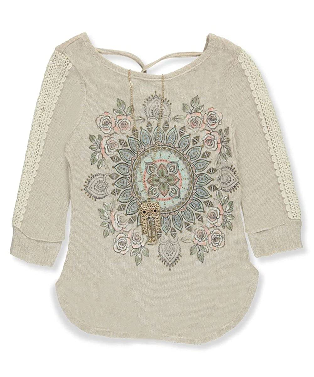 Beautees Big Girls' Top with Necklace 10-12