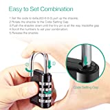 ORIA Combination Lock, 4 Digit Combination Padlock, 10000 Combinations for Home, Gate, Case, Toolbox, Gym, Sports, School and Employee Locker, Outdoor, Fence, Hasp and Storage