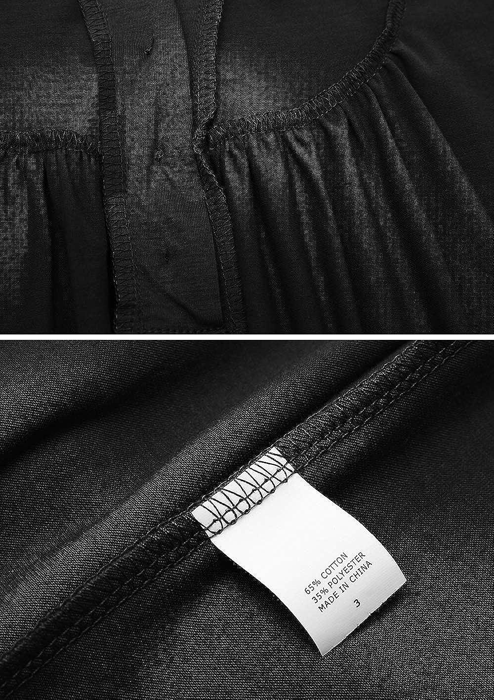 Aitos Tunika Sommer Tops Damen Kurzarm Basic Uni Leichtes Freizeit Rundhals mit Knopf Plissee T-Shirt Oberteile