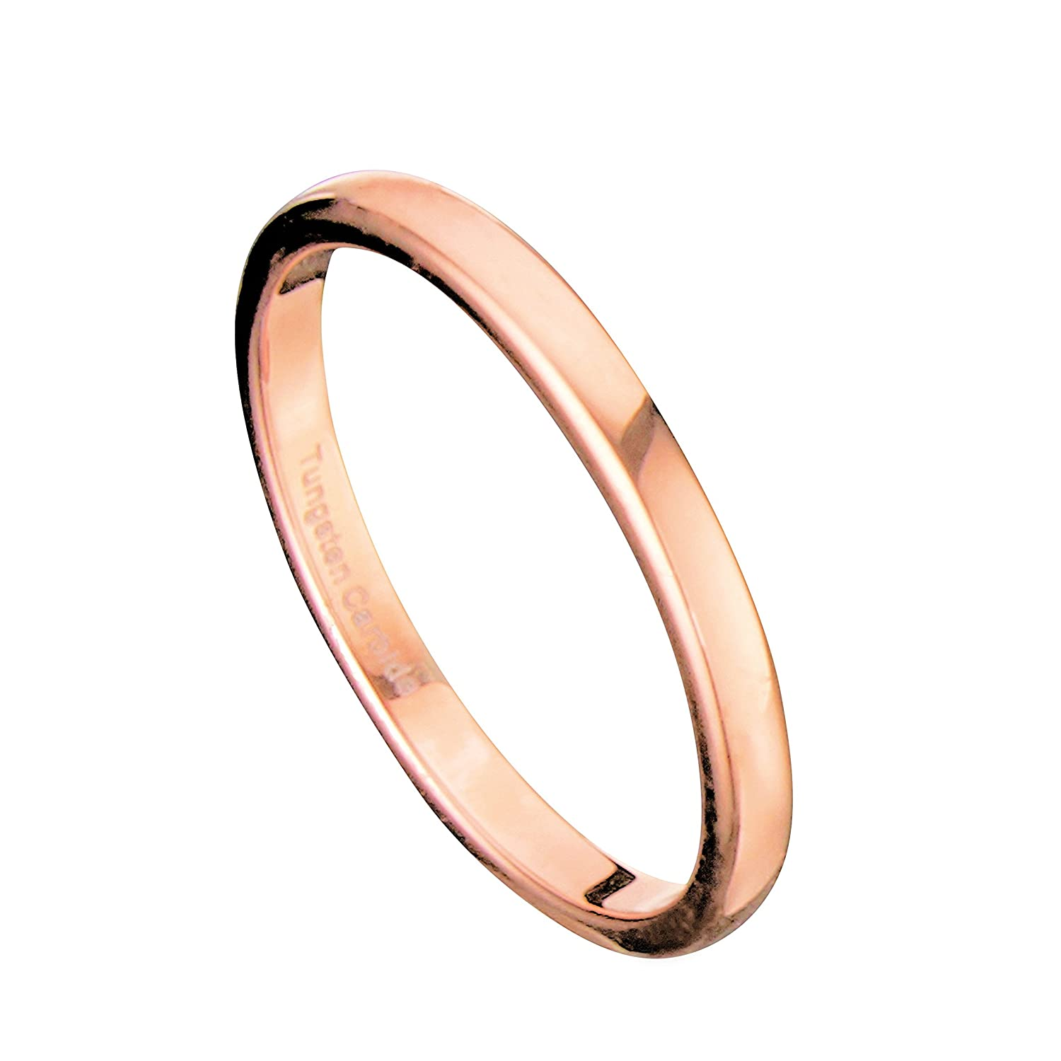 Bridal classics necklace sets mj 259 - 2mm Thin Rose Gold Plated Ring Tungsten Carbide Wedding Band Amazon Com