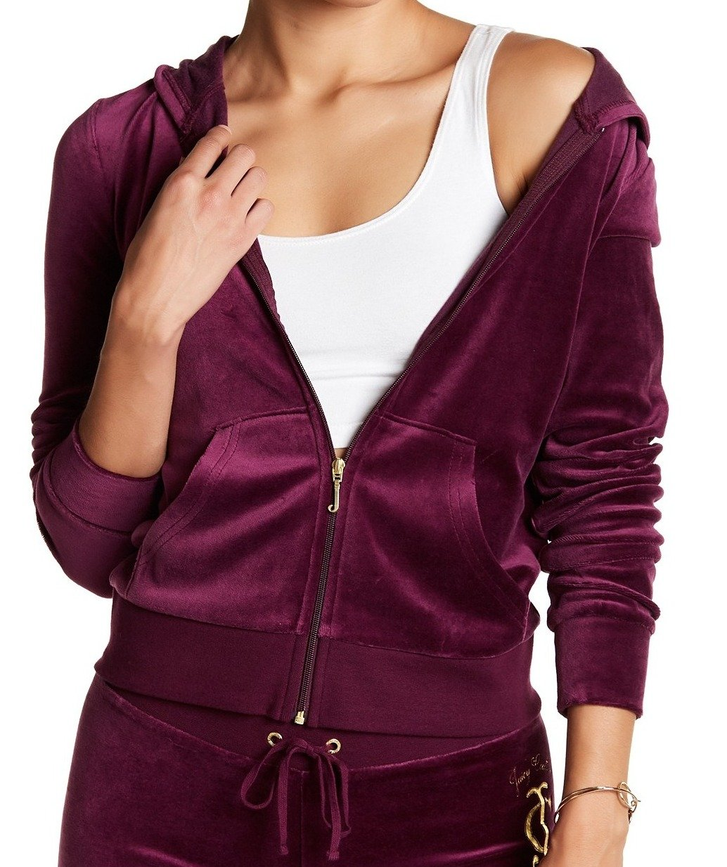Juicy Couture Velour Gold Printed Hooded Sweater Jacket