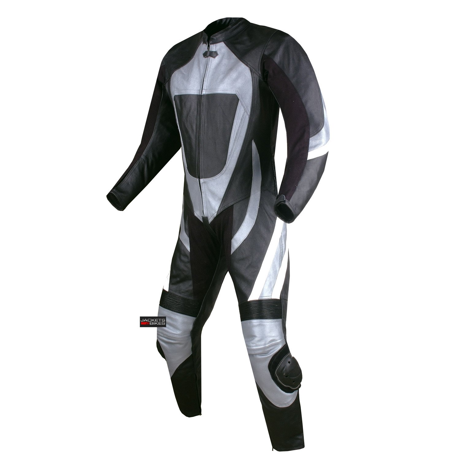 New 1PC One-Piece Armor Leather Motorcycle Racing Suit Silver w/Hump US Size 40 by Jackets 4 Bikes (Image #2)