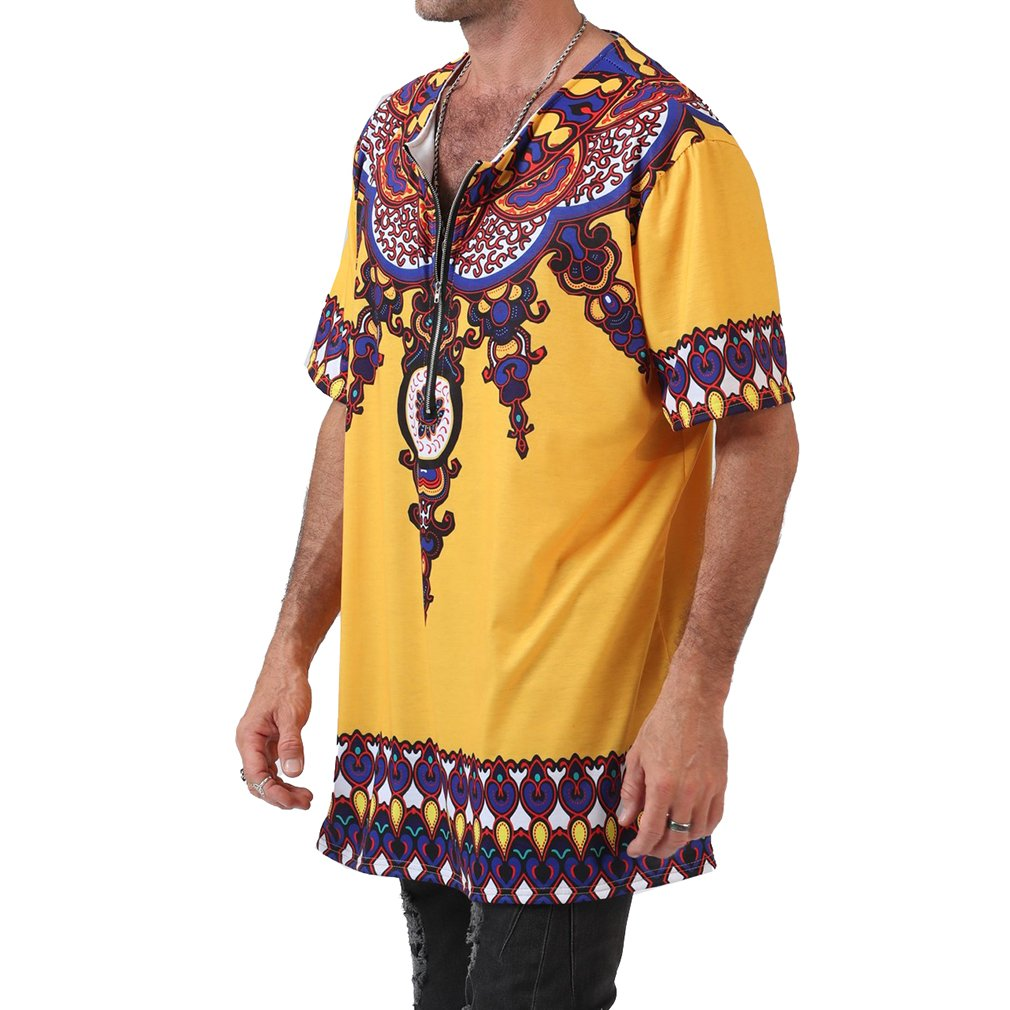 Summer Mens Short Sleeve Set-in Neck Crew Neck T-Shirt Multi Colour Loose Fit Traditional African Ethnic Style Festival Hippie Shirts Tops Plus Size