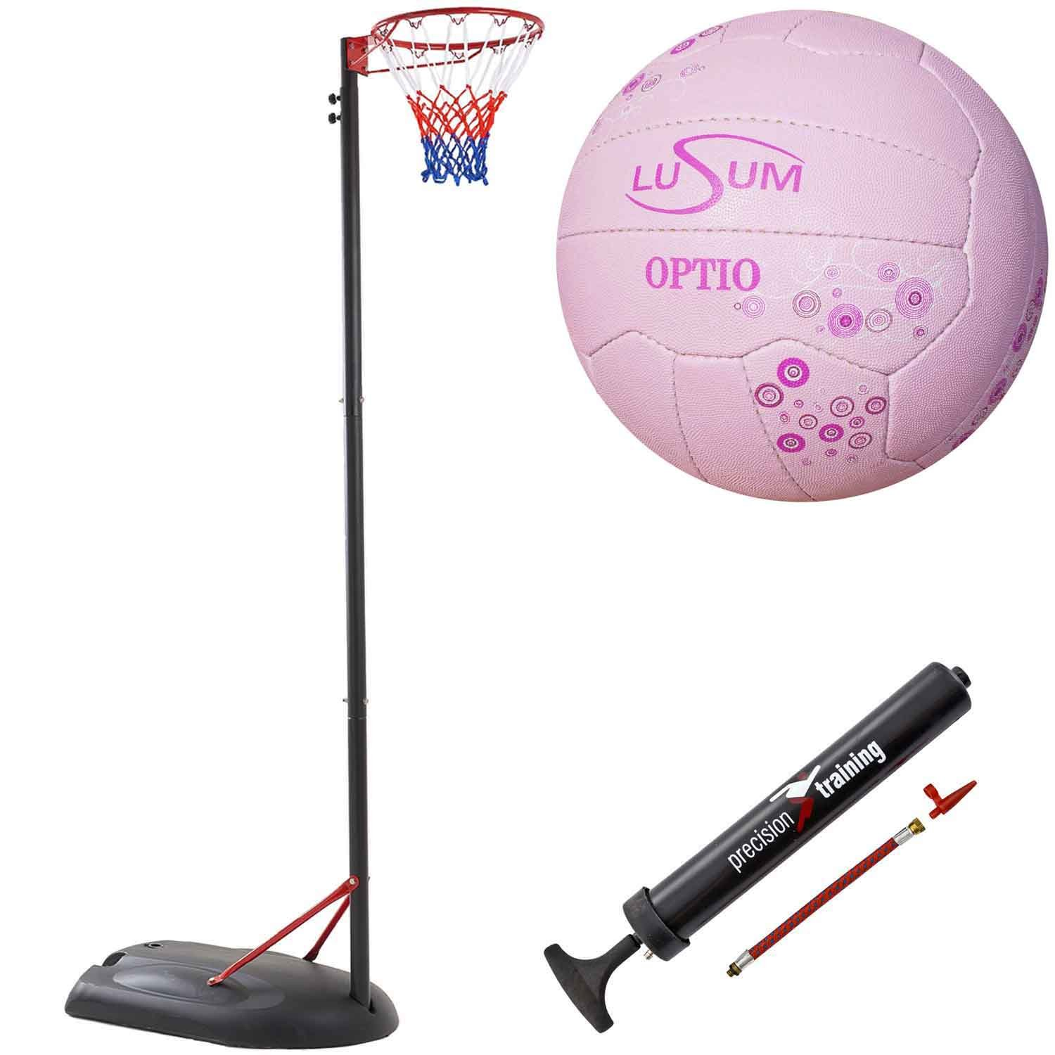 Bee-Ball Adjustable Netball Post Package. Netball Hoop, Premium Lusum Netball and Pump (10 Foot/3.05 Meters, INF Approved Height) Big Game Hunters 88101