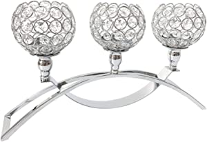 Esharey 3- Crystal Candle Holders,Candlesticks for Dinning Room, Table Decoration, Coffee Table, Living Room,Candle Candelabra for Formal Events, Wedding, Church, Holiday Déco, Halloween(Silver)