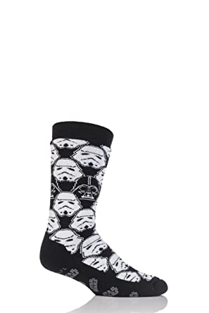 fba73f03fa Mens 1 Pair Heat Holder Star Wars Storm Trooper and Darth Vader Slipper  Socks with Grip Black White 6-11 Mens  Amazon.co.uk  Clothing