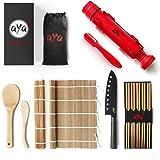 Sushi Making Kit - Original AYA Bazooka Kit - Sushi Knife - Video Tutorials - Sushi Maker - 2 Bamboo Mats - Paddle Spreader -