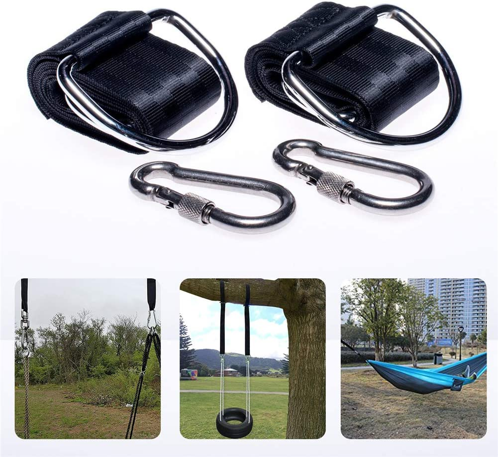 Loading Capacity 800kg 5ft Long Straps for Outdoor Tree Swings Hammocks Hanging Grneric Hammock Hanging Straps with Carabiner Clips Set