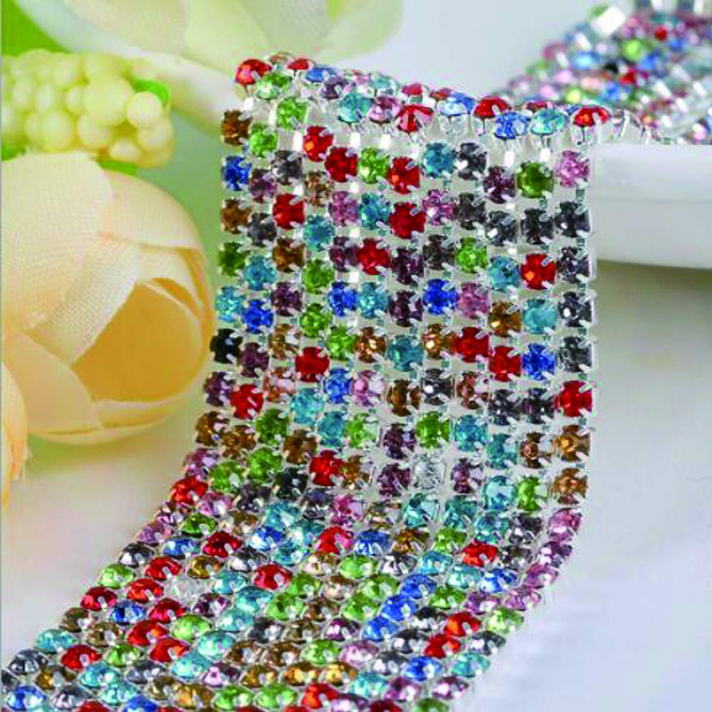 3mm Rainbow Rhinestone Chain 10 Yards Crystal Rhinestone Close Chain Trim