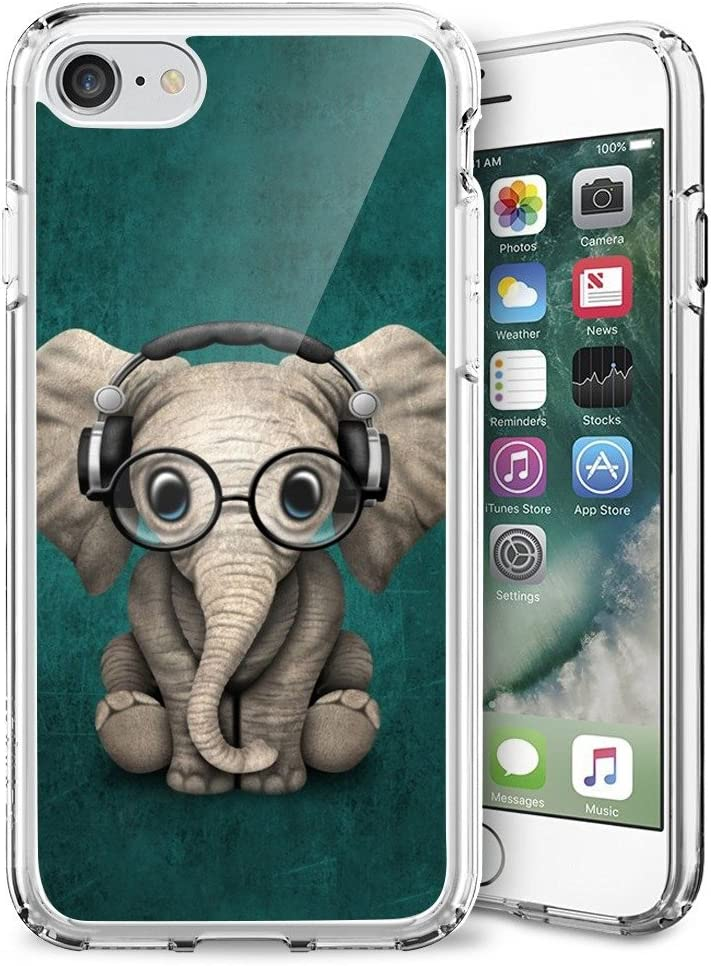 Elephant Music iPhone 7 8 SE(2020) Case Customized Design Anti-Scratch Flexible Shock Absorption Soft TPU Protective Phone Case for iPhone 7 8-Clear