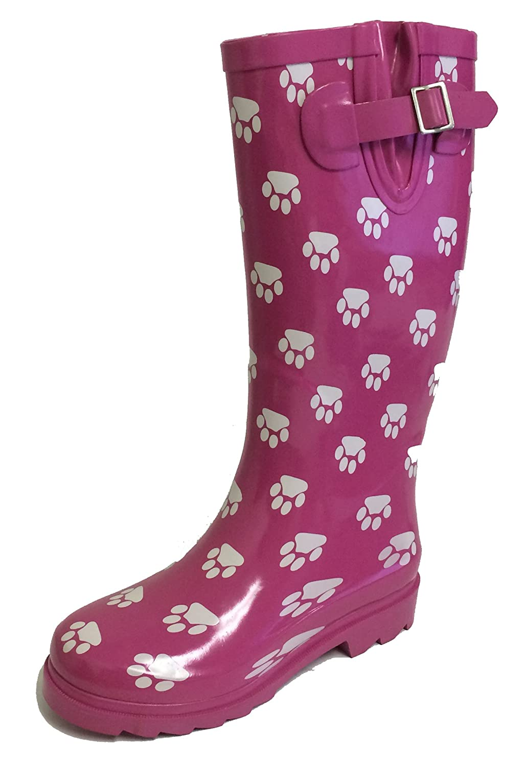 Pink Paws G4U Women's Rain Boots Multiple Styles color Mid Calf Wellies Buckle Fashion Rubber Knee High Snow shoes