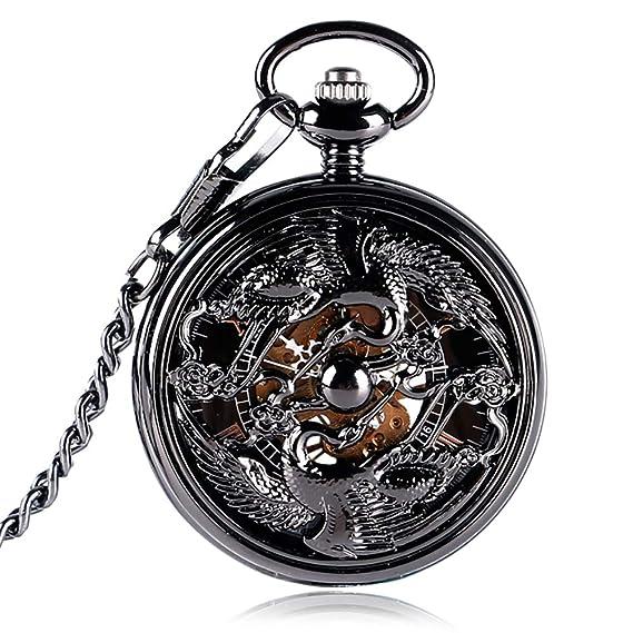 Relojes de Bolsillo Estilo Chino Steampunk para Hombre, diseño de grúas, Reloj de Bolsillo de Viento de Mano para Regalo: Amazon.es: Relojes