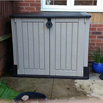 STS Supplies LTD Caja de almacenamiento con cerradura para cobertizo de jardín, de plástico,