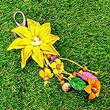 Yellow Leather Flower Keyring Keychain Vintage Texas Theme