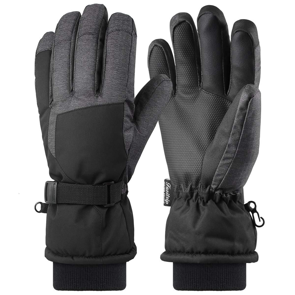 Fazitrip Herren 3M Thinsulate Wasserdichte und Winddichte Ski Handschuhe mit Touchscreen Fingers Winter Handschuhe