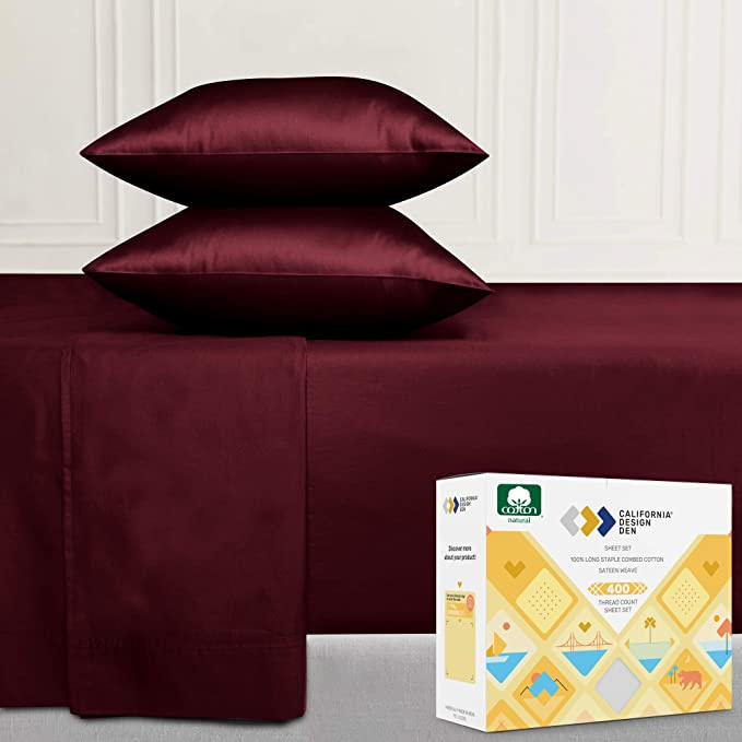400 Thread Count Full Sheet Set Cotton Soft Burgundy Red Wine Color Sheets Smooth Sateen Weave 4 Piece Bed Sheet Set Elasticized Deep Pocket Fits Low Profile Foam And Tall Mattresses Home