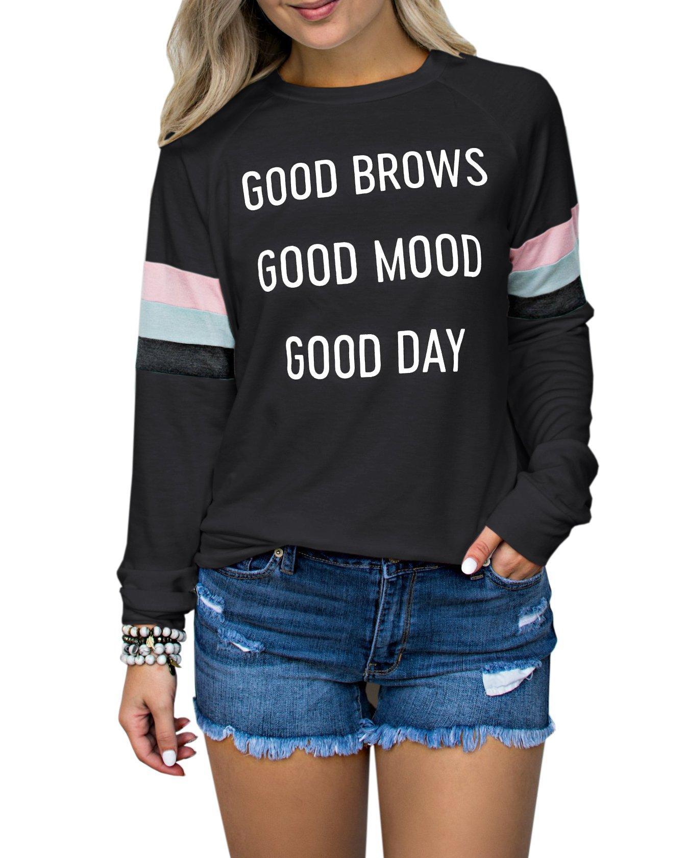 Womens Crewneck Varsity Stripe Sweatshirts Good Brows Good Mood Good Day Graphic Shirts Tops