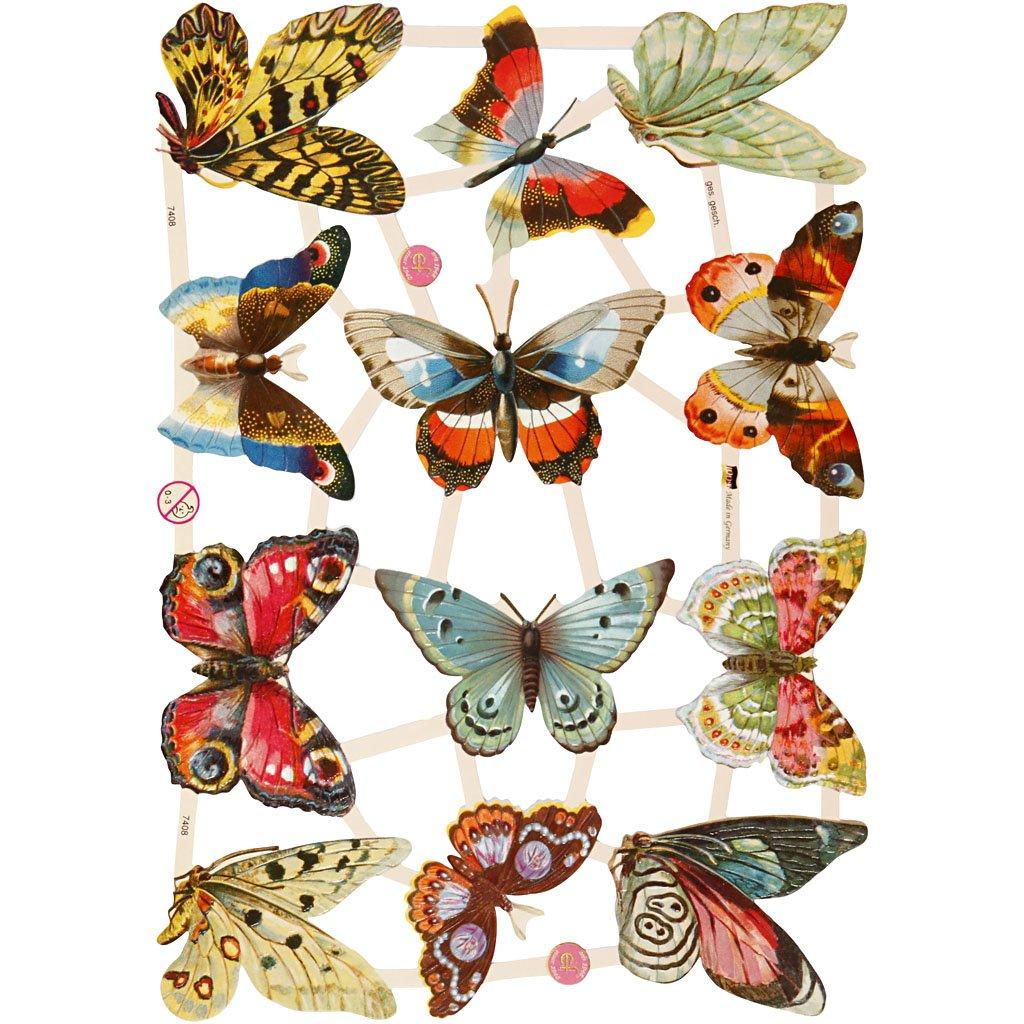 Creativ 16.5 x 23.5 cm Butterflies Paper Vintage Die-Cuts 3 Sheet, Multi-Color 19325