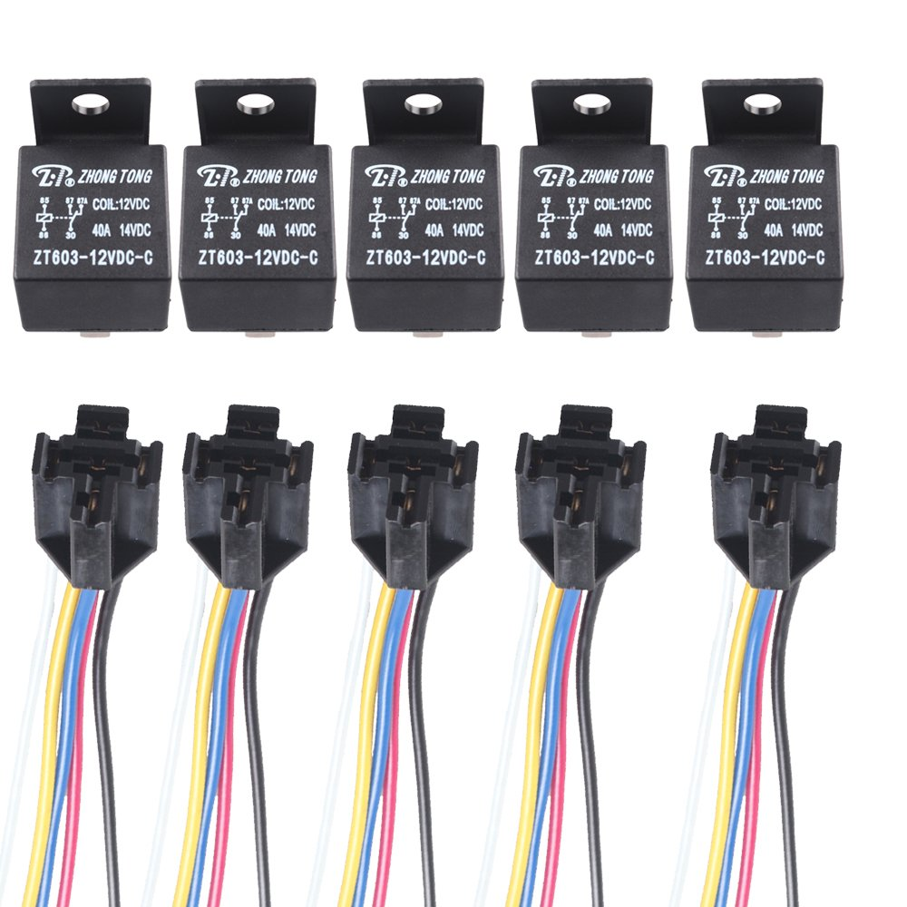 Etopars™ 5 X Car Vehicle Auto Truck 12V Volt DC 60A AMP Transparent Relay SPDT 5Pin Socket Plug Wire