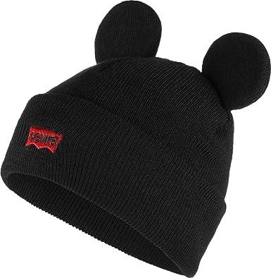1da3c62a Levi's Men's Mickey Mouse Ears Beanie (Noir Regular Black 59), One ...