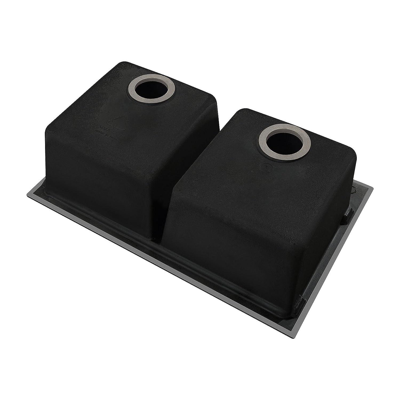 Granite Double Bowl Kitchen Sink Kraus Kgd 433b 33 1 2 Inch Dual Mount 50 50 Double Bowl Black Onyx