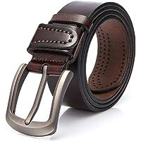 Dovava Cintura da Uomo, Cinghia Maschile in Pelle Vera con Fibbia,Cinture Elegante per Jeans,Pantaloni Casual o Formali,100% Pelle,Bella Confezione Regalo Inclusa