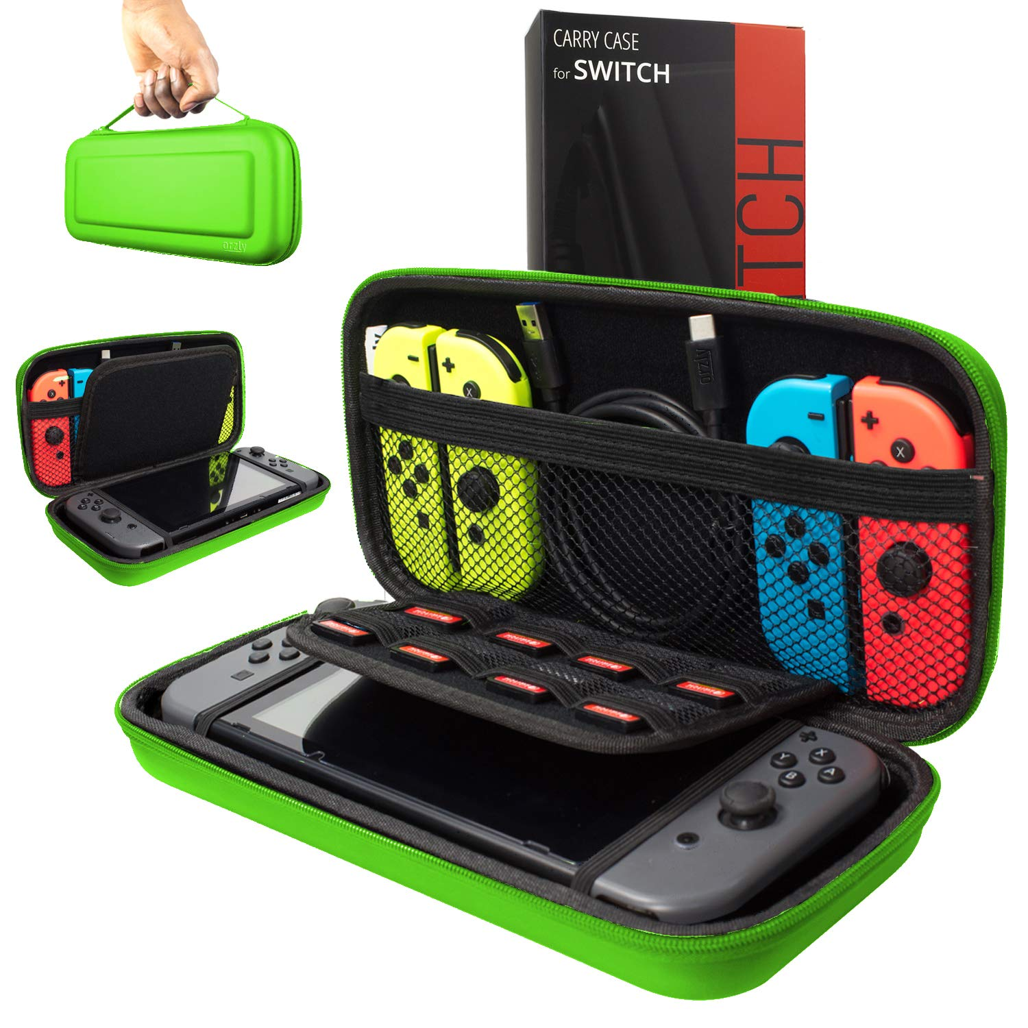 Orzly Carry Case Compatible with Nintendo Switch, Green (Case Only - Video Games & Console are NOT Included) product image