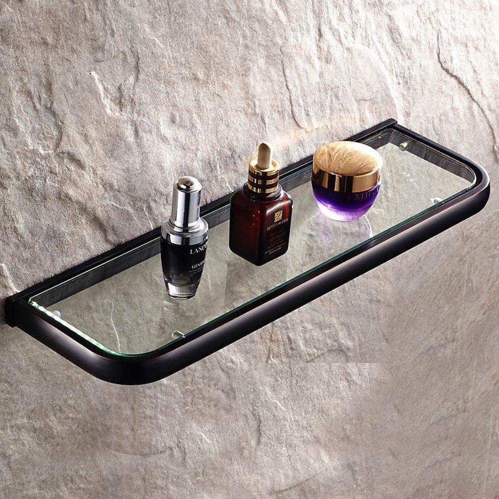 Leyden Bathroom Wall Mount Single Layer Rectangle Glass Shelf Black Oil Rubbed Bronze Finish Bathroom Storage Bathroom Accessories Holder