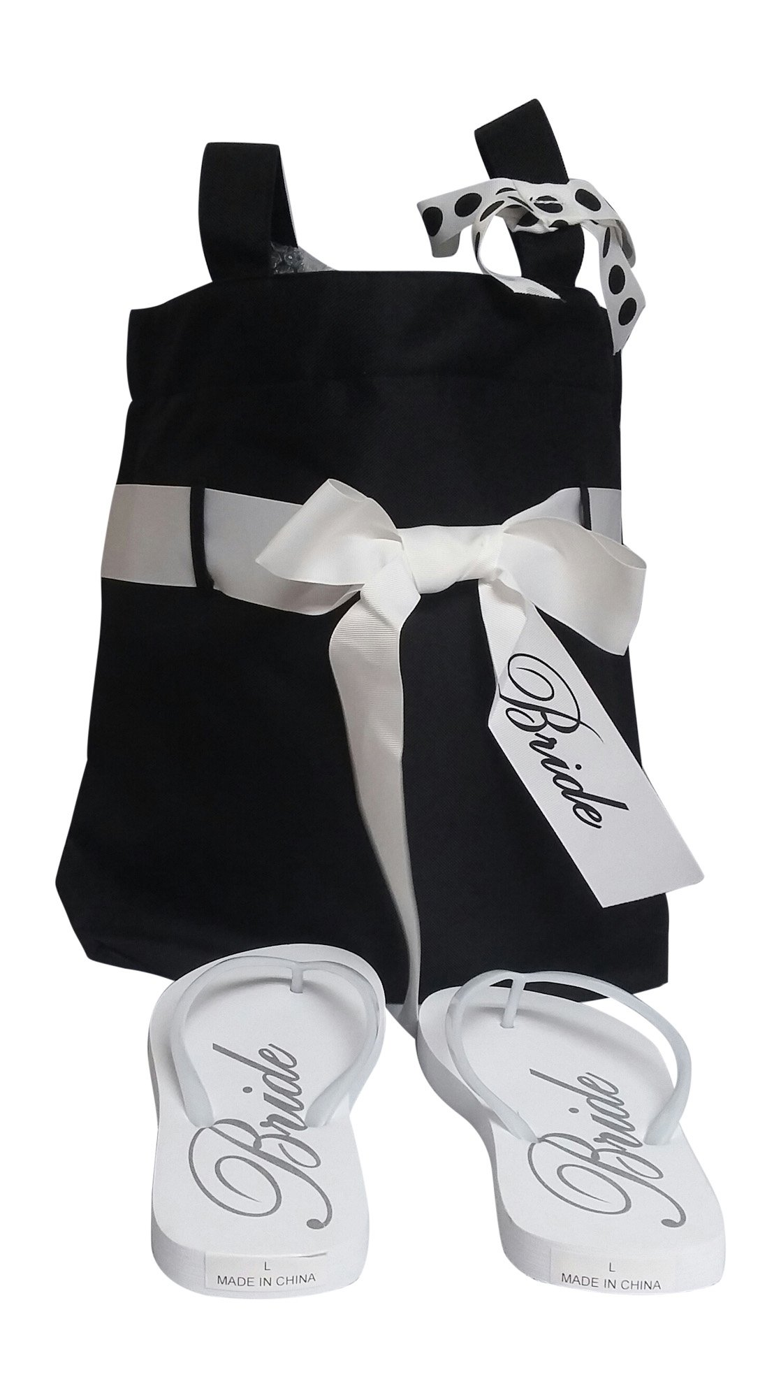 Wedding Day Bridal Tote Bag with Matching Flip Flops [size 9-10]