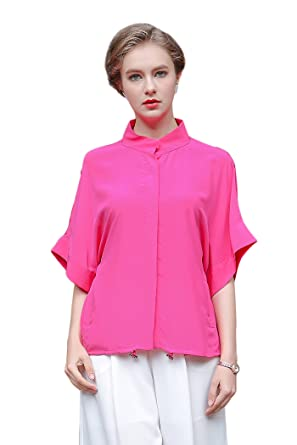 97aa089f Image Unavailable. Image not available for. Color: VOA Women's Short Sleeve  Pink Silk Blouse Shirt ...