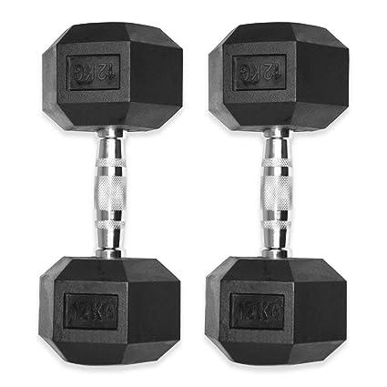 Kemket - Conjunto de pesas hexagonales de caucho que van de 10 a 20 kg - Ideales para hacer ejercicio, entrenamiento ...