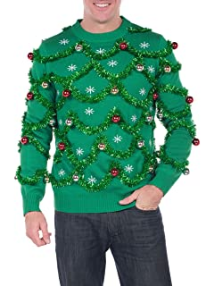 Womens Garland Christmas Sweater Green and Red Tinsel Ornament Ugly Christmas Cardigan