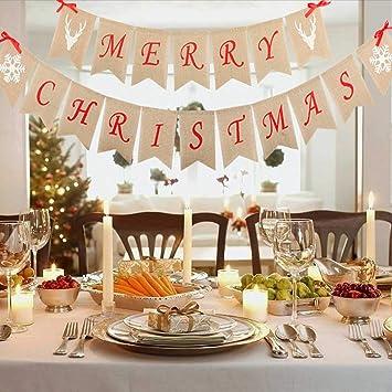 Amazon Com Junmu Merry Christmas Bunting Banners Hanging Garlands