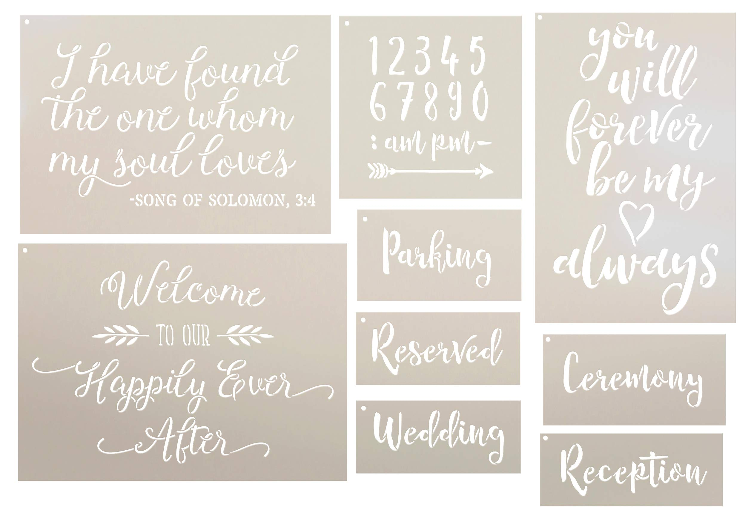 Wedding Collection Stencil Set - 9 Part by StudioR12   Reusable Mylar Template   Use to Paint Wood Signs - Pillows - DIY Love & Romance Projects