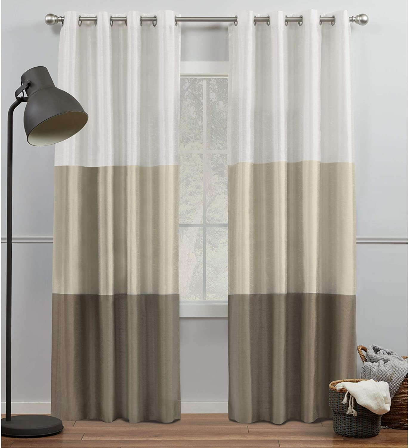 Exclusive Home Curtains Chateau Striped Faux Silk Grommet Top Curtain Panel Pair, 54x84, White/Sand