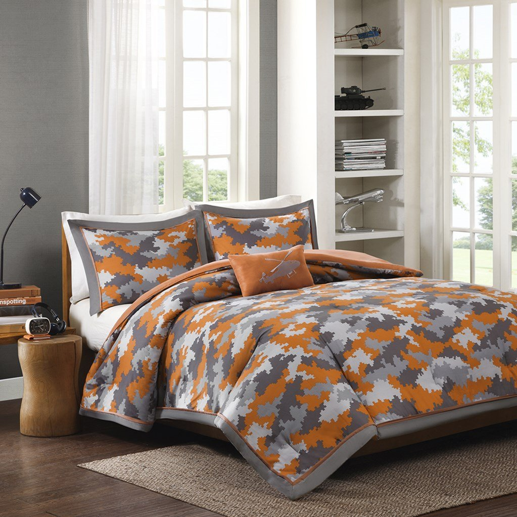 Gray & Orange Camouflage Camo Twin Comforter