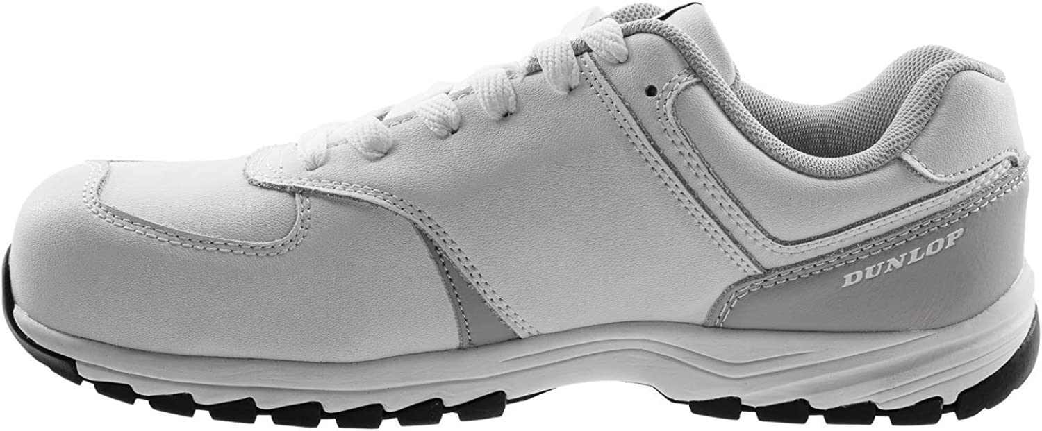 Dunlop White Leather Safety Trainers