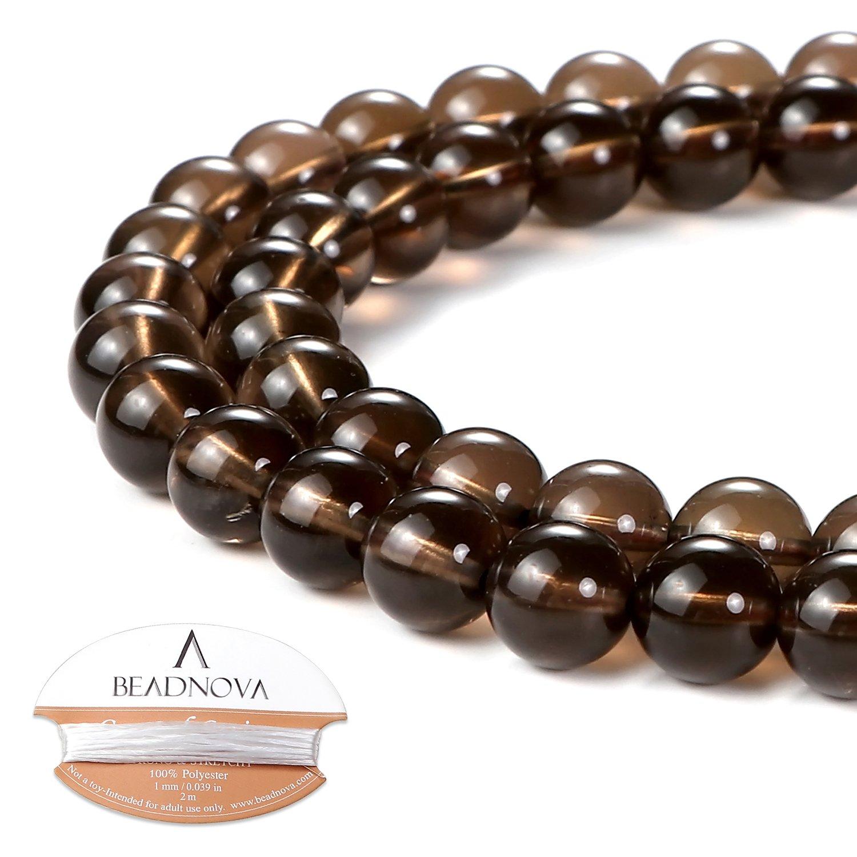BEADNOVA 8mm Smoky Quartz Gemstone Round Loose Beads for Jewelry Making (45-48pcs)