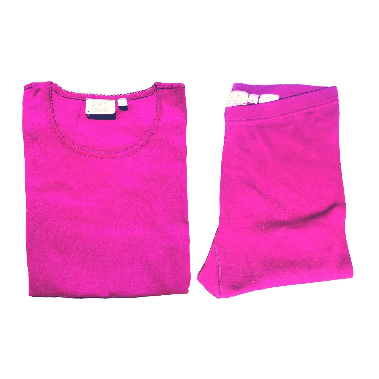Sheep Run Womens 100% Merino Wool Thermal Underwear Top and Pants (Pink, Large) by Sheep Run