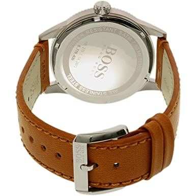 Amazon.com: Hugo Boss Pilot Vintage Blue Dial Leather Strap Mens Watch 1513331: Hugo Boss: Watches