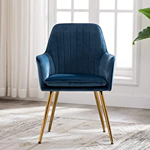 Artechworks Velvet Modern Living Dining Room Arm Chair for Home Office Club Leisure Guest Lounge Bedroom Upholstered with Gold Metal Legs, Blue