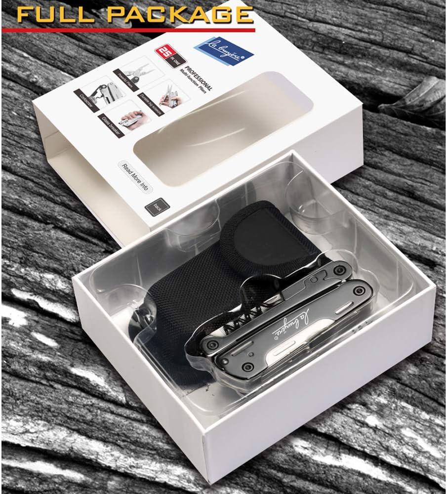 Alicates Multiusos de Bolsillo 25-en-1 LABRUYERE /· Multiherramienta Plegable Premium con dise/ño ergon/ómico para verdaderos profesionales /· Presentada en una Caja Regalo y Bolsa Nylon