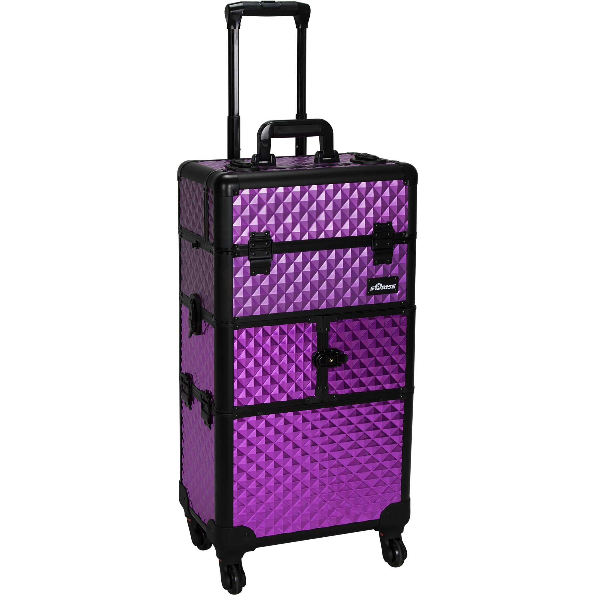 Sunrise Bartolini 2-In-1 Rolling Makeup Case Professional Nail Travel Organizer Box, Purple Diamond, 21 Pound