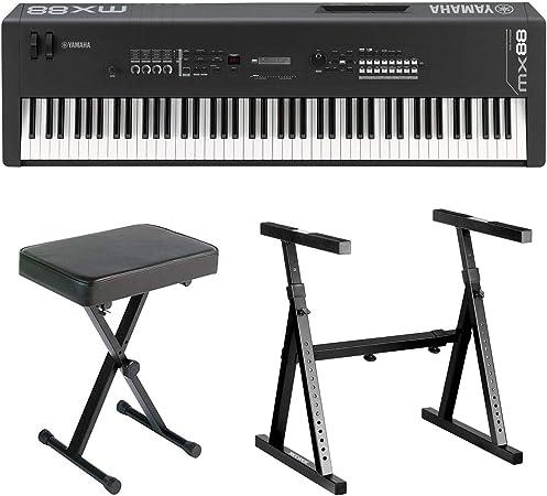 Yamaha MX88 - Sintetizador de música de 88 teclas con soporte de teclado resistente estilo Z y banco de piano plegable estilo X